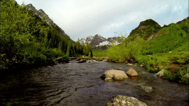 Rapid River Angle Infamous Maroon Bells Massive Towers of Rock in Aspen Colorado Rocky Mountain Bliss with Crater Lake Ultra Wide Angle