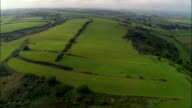 Rare Medieval Strip Farming, Laugharne  - Aerial View - Wales, Carmarthenshire, United Kingdom