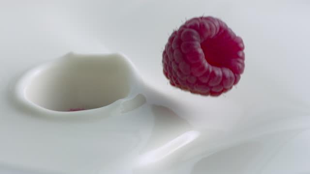 Raspberries falling into milk