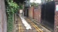 London Norbury EXT Reporter to camera Fly tipped mattress in alleway Council workers cleaning street Overflowing rubbish bins Reporter to camera Ian...