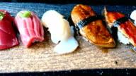 Raw and fresh nigiri sushi roll