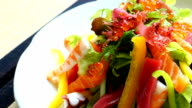 Raw and fresh sashimi fish meat with vegetable