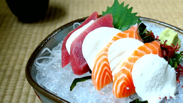 Raw and fresh sashimi set with salmon and tuna fish meat