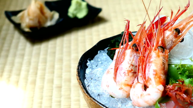 Raw and fresh shrimp or prawn sashimi