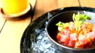 Raw and fresh tuna tartare