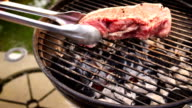 Raw Beef Steaks on a Charcoal Grill