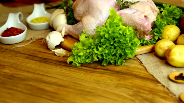 Raw chicken with vegetables