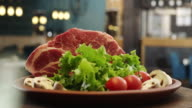 Raw pork meat on plate