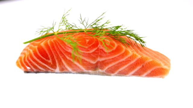 Raw Salmon Filet Garnished with Dill