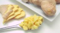 CU TU TD Raw sliced and chopped ginger / London, UK