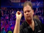 Raymond van Barneveld finishes on bullseye to win game fans applaud 2003 Embassy World Darts Championships Lakeside Frimley Green