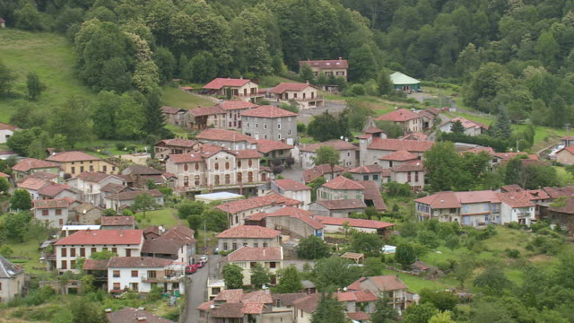 MS AERIAL Razecueille and Sengouagnet city in mountains / Midi Pyrenees, France