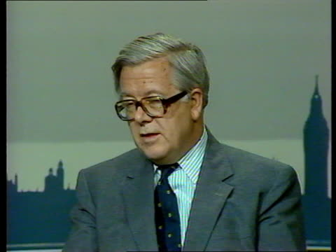 UK reaction ITN EXT/RAINING MS Houses of Parliament and Big Ben MS Part of Houses of Parliament INT CMS SIR GEOFFREY HOWE INTVW SOF 'Certainly there...