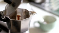 Real Italian Coffee Pouring Out from Moka