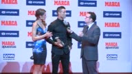 Real Madrid football player Cristiano Ronaldo receives from hand of Monica Martinez the Alfredo Di Stefano Award for the Best Player and Soccer coach...