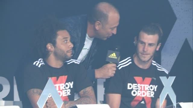 Real Madrid football players Gareth Bale and Marcelo present Adidas Freestyle football tournament