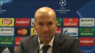 Real Madrid Head Coach Zinedine Zidane speaks during a press conference following the UEFA Champions League round of 16 first leg match between AS...