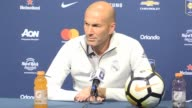 Real Madrid postmatch press conference with manager Zinedine Zidane after the preseason defeat on penalties to Man United