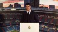 Real Madrid's President Florentino Perez gives a speech during the prensentation of Spanish striker Alvaro Morata as new player of Real Madrid during...