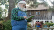 Real Santa Claus reading childrens mails on his ipad.