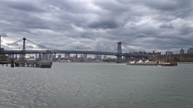 Real time video of Williamsburg bridge on a cloudy day