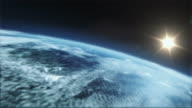 Realistische, detaillierte Erde zoom auf die Stadt