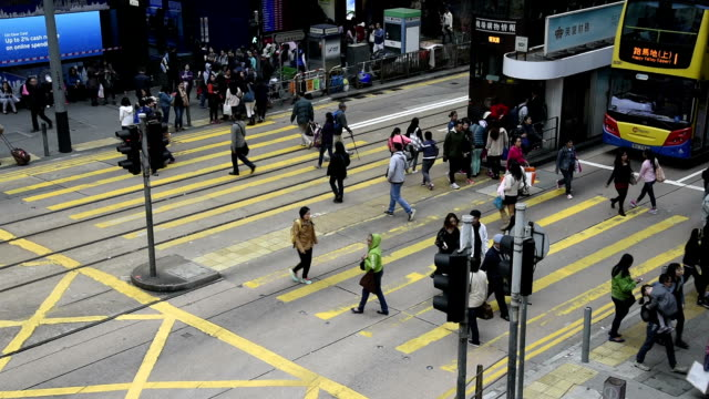 HD real-time video , cityscape of Hong Kong , a busy traffic intersection shuttle traffic