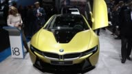 A rear brake light sits illuminated on a BMW i8 electric automobile manufactured by Bayerische Motoren Werke AG during the second media preview day...