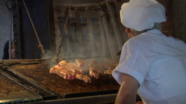 CU Rear view of chief grilling meat in restaurant, Montevideo, Uruguay