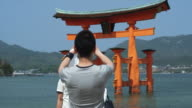 MS Rear view of man photographing couple in front of Torii gate at Itsukushima Shrine at high tide, Miyajima Island, Japan