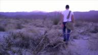 WS, SELECTIVE FOCUS, Rear view of man walking through desert, focus on shrubs in foreground, near San Diego, California, USA