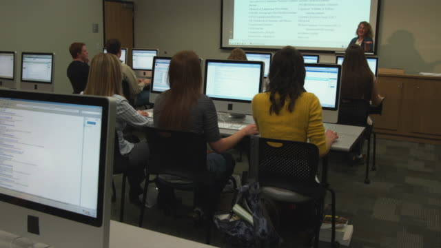 MS DS Rear view of students in college computer lab, Orem, Utah, USA
