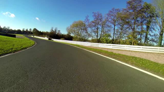 Rear View Track / Race Car Through A Corner