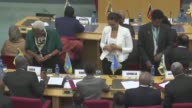 Rebel chief Riek Machar and former Secretary General of South South Sudan's government Pagan Amum Okiech attend peace talks in Addis Ababa Ethiopia...