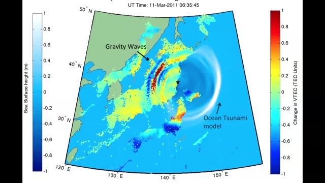 / GPS receivers detect upper atmosphere disturbances from Japan earthquake and tsunami / color dots represent GPS radio signals / Rayleigh and...