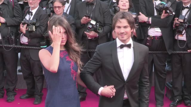 Recently married couple Ian Somerhalder and Nikki Reed looks very Hollywood Glam as they attend the Youth red carpet during the 68th Annual Cannes...