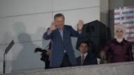 Recep Tayyip Erdogan Turkish Presidential election winner according to unofficial results makes speech at the ruling AK Party's headquarters in...