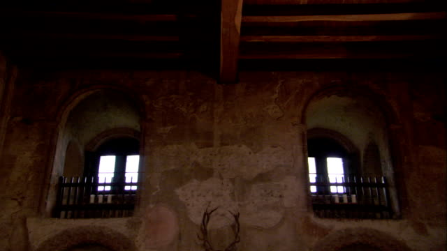 Recessed, arched windows flank a fireplace in a castle. Available in HD.