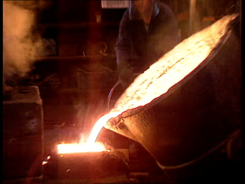 Recession Kettering CS Molten metal pouring from vat PULL OUT LMS Men pouring metal ITN