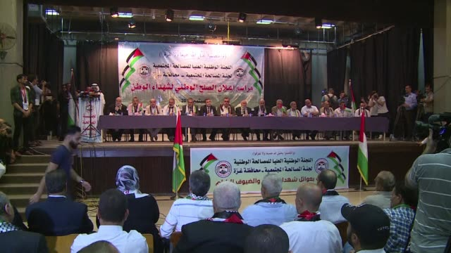 A reconciliation ceremony was held Thursday in Gaza during which 14 families who lost relatives in fighting between rival Palestinian factions Hamas...
