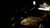 Recordist works with sound mixer