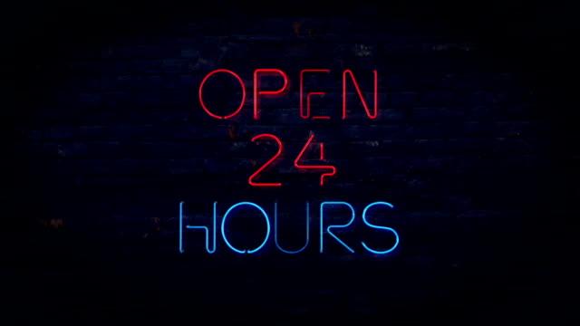 Rote und blaue rund um die Uhr geöffnet und zu blinken neon sign