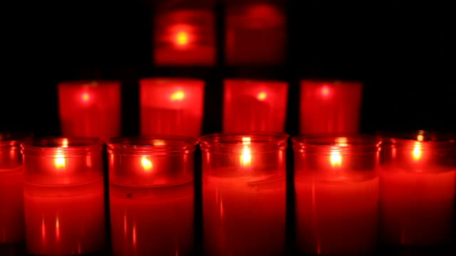 Red candles in the church