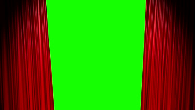 Red curtains open and close with green screen