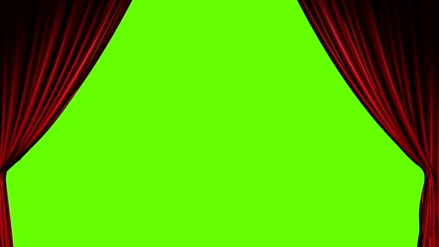 Tende rosse aprire e chiudere con schermo verde