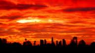 Red dawn über skyline von Los Angeles