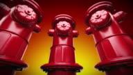 Rosso idranti in una riga. Loopable CG.