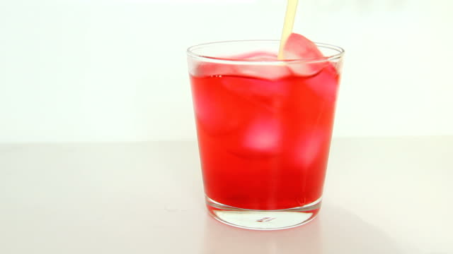Red juice in a glass
