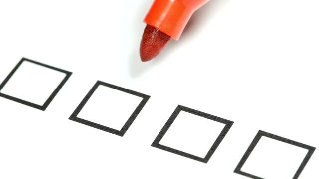 Red pencil -  Tick off in checklist.