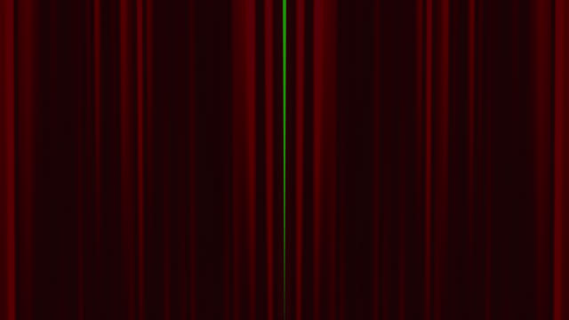 Red theatre curtains opening with chroma key background